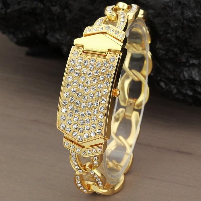 G & D Luksus Brand Kvinners Armbåndsure Guld Rhinestone Smykker - Dameure - Foto 1