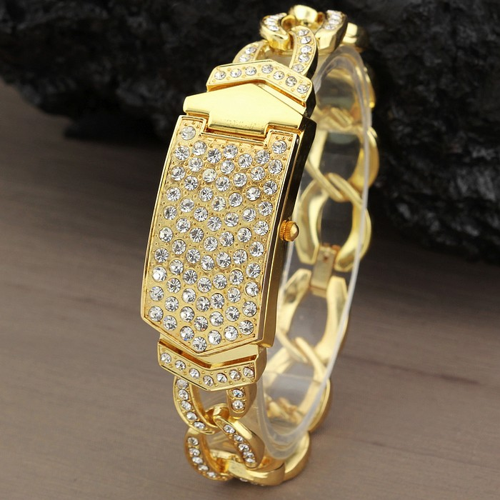 G&D Luxury Brand Women's Bracelet Watches Gold Rhinestone Jewelry Lady's Dress Watch Steel Band Relogio Feminino Clamshell Clock