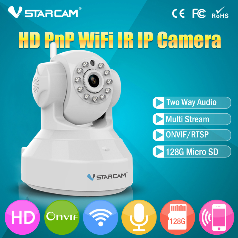 VStarcam Wireless Pan Tilt IP Network WiFi Camera with Two-Way Audio and Night Vision C7837WIP vstarcam indoor hd wifi video surveillance monitoring security wireless ip camera with two way audio ir night vision pan tilt