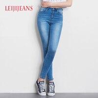 Leiji узкие джинсы для женщин Высокая талия большие размеры S-6XL светло-синие джинсы узкие джинсы для женщин Высокая Эластичность узкие брюки Г...