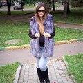 BFFUR Genuine Fur 2017 Pele Whole Fox Fur Mulheres Vest 100% Prata reais Fox Colete de Pele de Mulheres Marca de Moda Colete Plus Size BF-V0023
