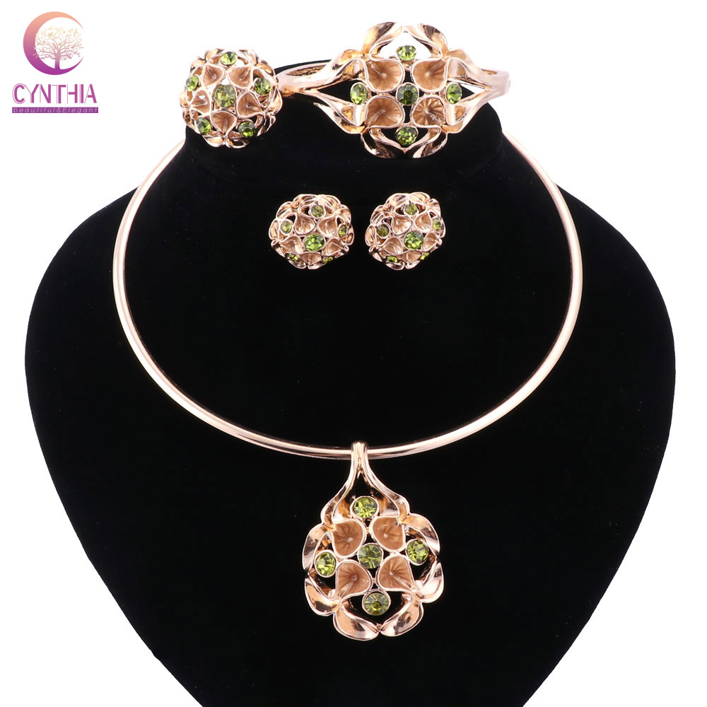 ᑐFashion Nigerian African Costume Bridal Jewelry Set Shining ... on