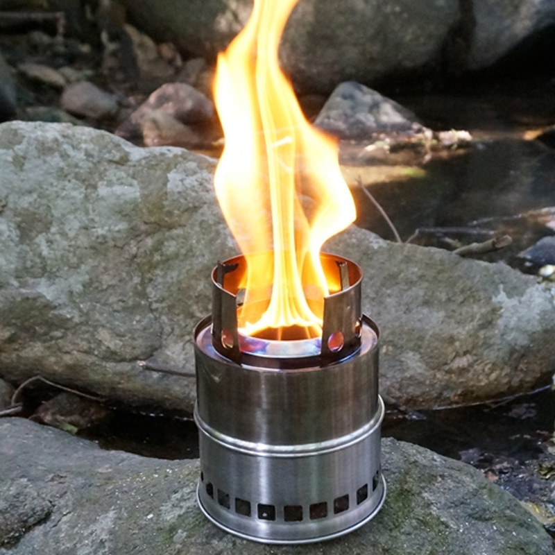 Outdoor wood gas wood stove Folding portable picnic cooker ...