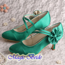 Prom Women's Shoes Green Wedding Shoes Bridal Shoes High Heels Pumps with Bows