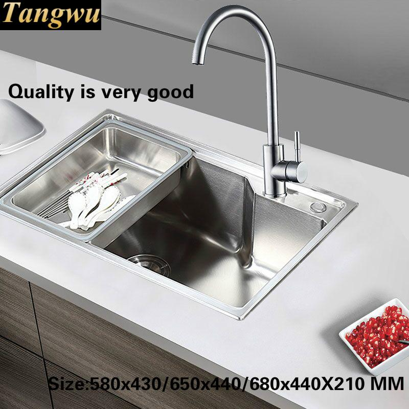 Tangwu Small kitchen sink of high quality stainless steel single slot 580x430/650x440/680x440X210 MM kcchstar the eye of god high quality 316 titanium steel necklaces golden blue