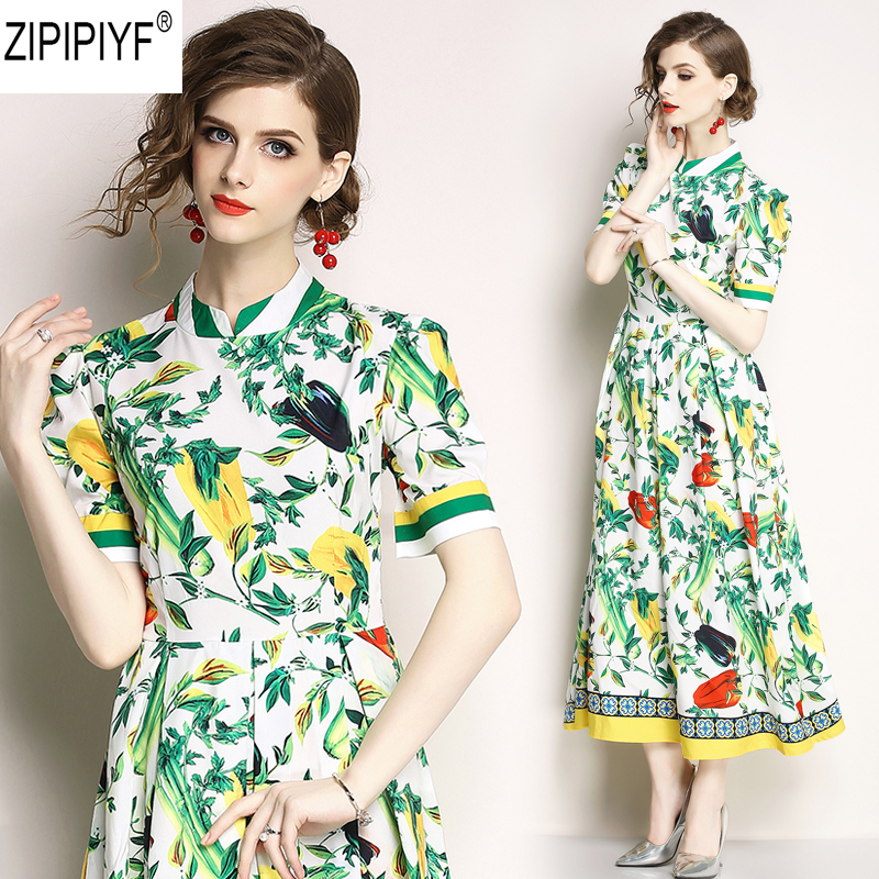 2018 Spring Summer Fashion Green Vintage Print Dresses Women O-Neck Short Sleeve A-Line Dress High Waist Mid-Calf Vestidos C1152