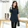 Topjini Spring Women'S Novelty Shirts Long Sleeved Slim Cotton Shirt Plus Size XL-4XL Floral Embroidery Women'S Casual Dress