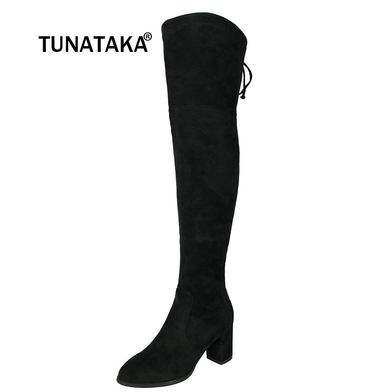 Faux Suede Comfort Thick Heel Thigh High Boots Women Over the Knee Boots Winter Female Fashion Shoes Back Lace-up Black Gray jk back lace up over the knee boots sexy super high heel women shoes on the platform winter boots 2018 new rubber female shoes