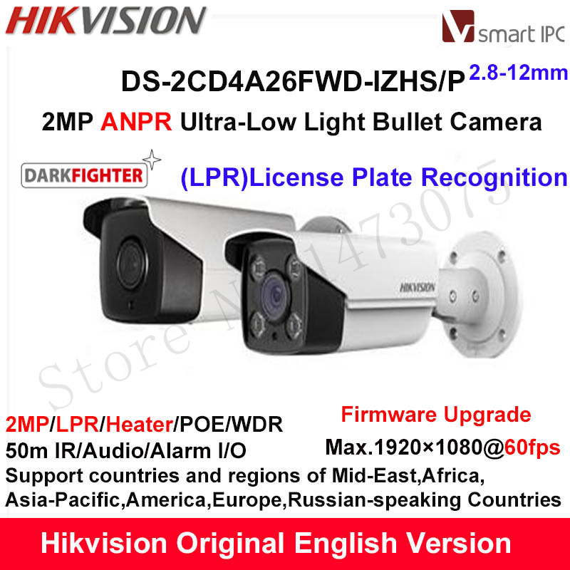 Hikvision 2MP LPR Ultra-Low Light Smart IP Camera DS-2CD4A26FWD-IZHS/P ANPR Bullet CCTV Camera POE Motorized 2.8-12mm Heater ds 2cd4a26fwd izh english version 2mp low light smart bullet ip cctv camera poe lpr 50m ir mortorized vf lens heater no audio