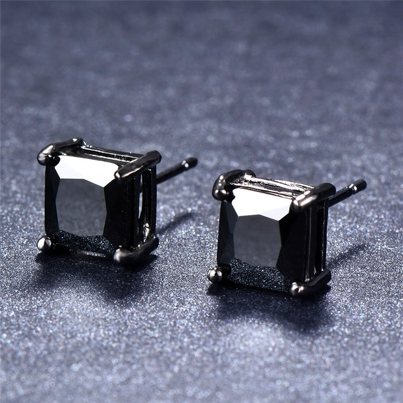JUNXIN 4/5/6/7mm Lover's Black Gold Earring Classic Small Square Earrings Fashion Black Stud Earrings For Men And Women