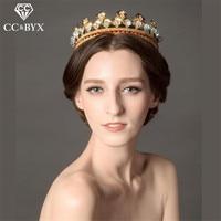 CC Wedding Crown Headband Tiaras Leaf Design Crystal Pearl Vintage Rhinestones Hair Accessories For Bride Party
