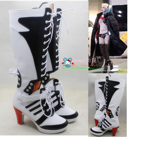 fc10ab52c44903 New Batman Suicide Squad Harley Quinn film Cosplay Costumes Boots Custom Women  Halloween Party shoes