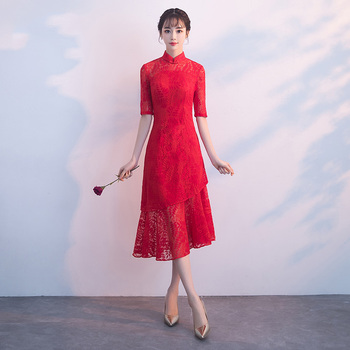 2020 Spring New Embroidery Floral Cheongsam Women Lace Hollow Out Slim Qipao Chinese Bride Wedding Evening Party Dress Vestidos