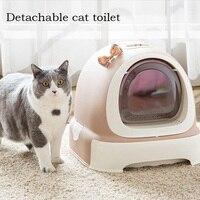 Cat закрытым Жук туалет закрытой кошки песочницы постельные принадлежности обучение животное туалет кошка судно Pet Mascotas котенок в помете кор
