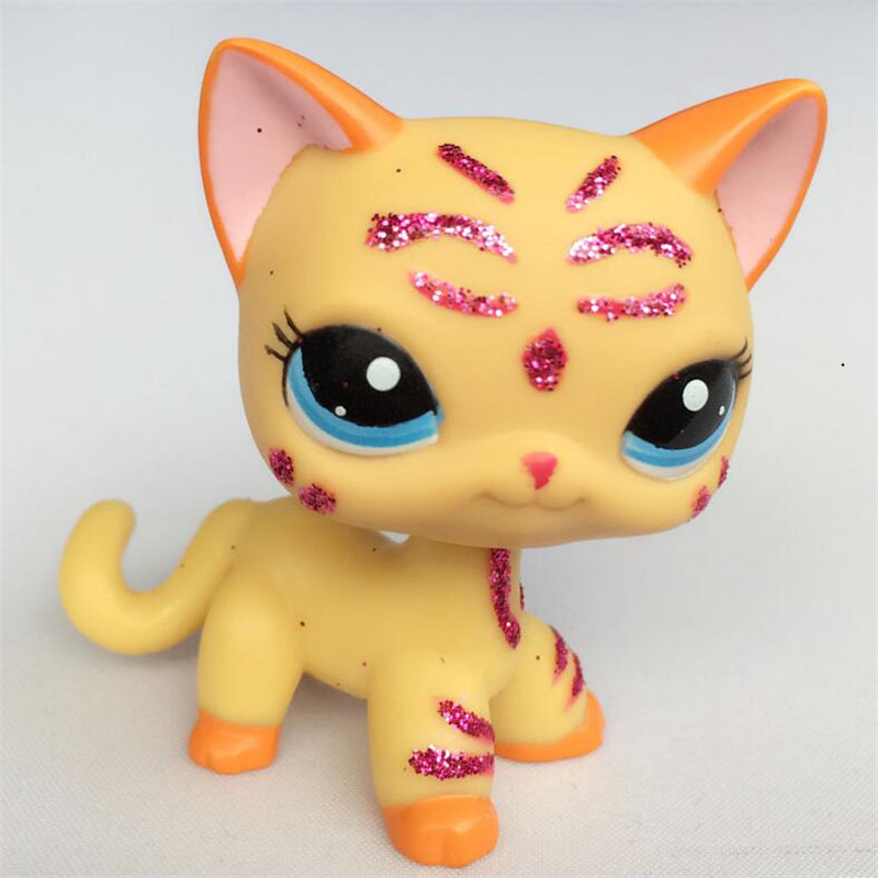 lps pet shop CAT Short Hair 2118 Yellow Kitten With Blue Eyes Purple Glitter Sparkle Standing