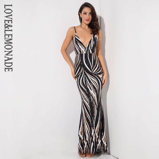 Love Lemonade Deep V Neck Open Back Stripe Sequins Long Dress LM1420 ... 9d3fd3b85b64