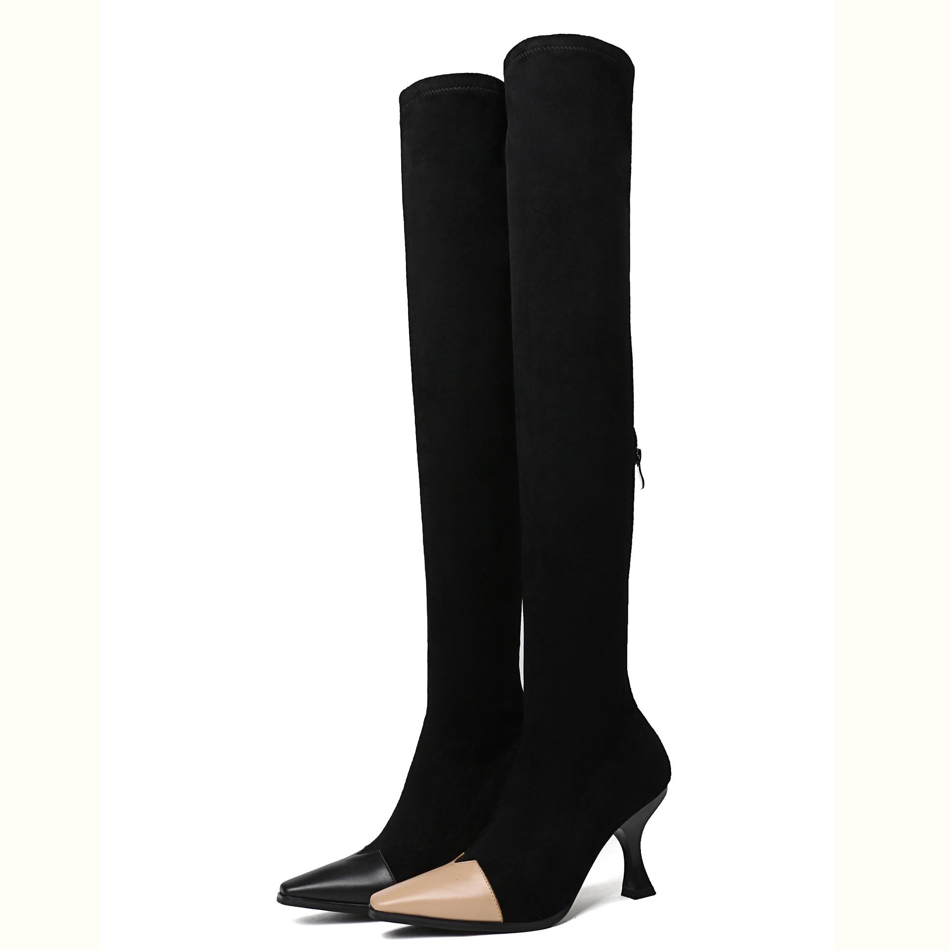 Talons Enmayer Cours 39 Des Cr1011 Au Minces Hiver Chaussures 34 Bottes Automne Hautes black Cuir Longues De Pour En Femmes Apricot Mode Taille qErqwH7