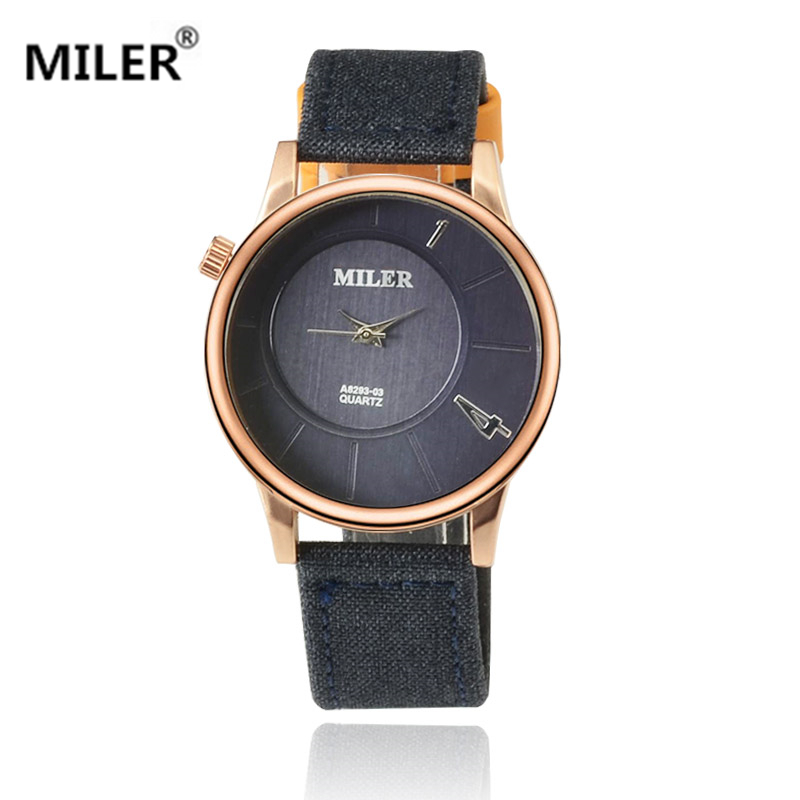 New fashion MILER watch quartz men leather fabric fashion watch neutral dress personality round dial watch elegant male relojes цена и фото