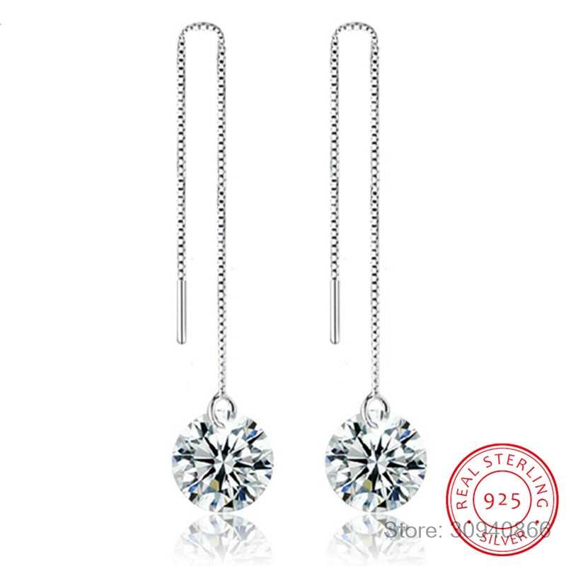 LEKANI Crystal from Swarovski Round Charm Tassels Long Drop Earring Fine Jewelry Vintage 925 Silver For Women Party Brinco