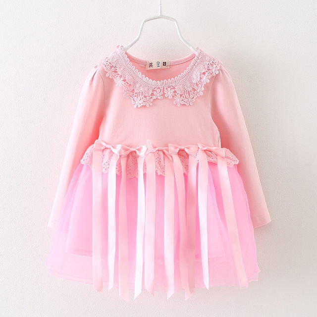 2016 new spring autumn lace patchwork baby girls tutu dress bow newborn princess dress suit infants birthday dresses for girl