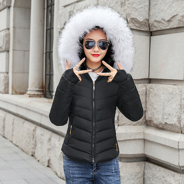 2019 חורף מעיל נשים גדול פרווה צווארון למטה צמר גפן נשי מעיל כותנה מרופדת מעילי עיבוי נשים חורף מעיל