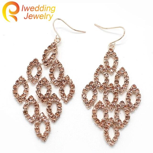 nuevo estilo f9dd9 09aa3 € 3.97 |IweddingJewelry Pendientes Bohemios de Moda de Cobre con Diamantes  de Imitación para Las Mujeres Pendientes de Gota Pendientes de La Joyería  ...