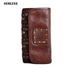 Brand Handmade Genuine Vegetable Tanned Leather Cowhide Men Wowen Long Wallet Wallets Purse Card Holder Clutch Bag Coin Pocket