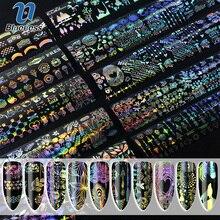 Blueness 10Rolls/Bottle Holographic Laser Nails Transfer Foil Stickers Mix Pattern Manicure DIY Nail Art Decorations Decals DIY 120m 4cm red laser transfer foil stickers nail art wraps holographic nail rolls manicure nail diy decorations supply wy291