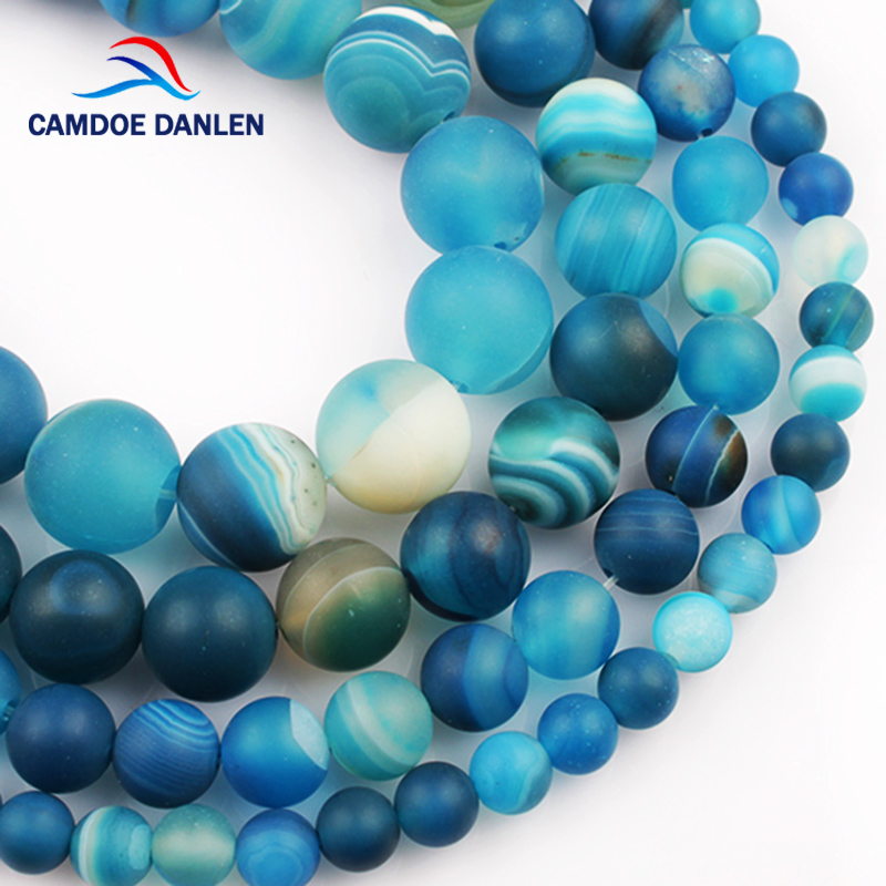 CAMDOE DANLEN Natural Stone Forsted Dull Polish Matte Blue Stripe Agates Loose Beads 4/6/8/10 / 12MM Fit Diy For Making Jewelry