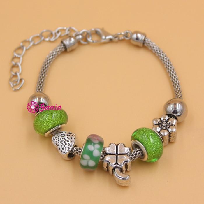 Fashionable Jewelry European Bead Style Bracelet Flower Green ...
