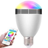 Żarówka E27 LED RGB Światła Muzyka 2017 Smart Wireless Bluetooth 4.0 Zmiana Koloru przez WiFi App Sterowania Głośniki Audio Ściemniania lampa