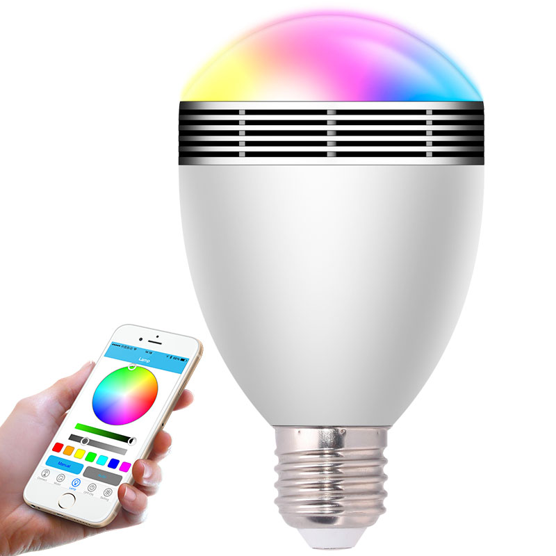 E27 LED RGB Light Music Bulb 2017 Smart Wireless Bluetooth 4.0 Audio Dimmable  Color Changing via WiFi App Control Speakers Lamp new dc5v wifi ibox2 mi light wireless controller compatible with ios andriod system wireless app control for cw ww rgb bulb
