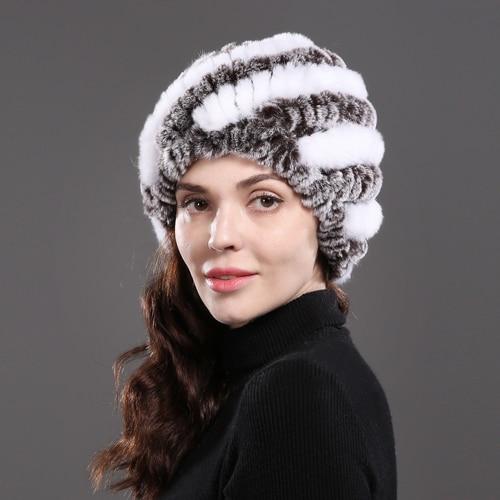 0dfd4a24dfb Dropwow 2018 Lady Winter Natural Real Rex Rabbit Fur Hat Girl 100 ...