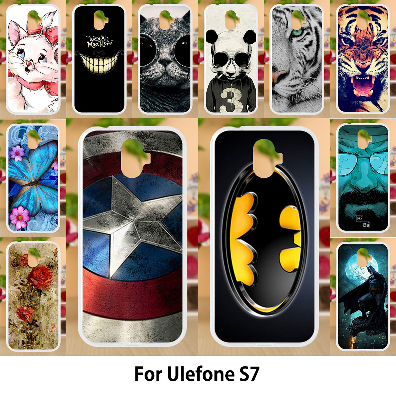 Anunob For Ulefone S7 Case Silicone Soft TPU Covers For Ulefone S7 Pro Cases Painting font