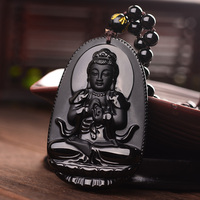 Free shipping Buddha Pendant Natural obsidian Vintage Necklace Black Buddha Head Pendant For women&men Jewelry