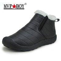 MVP BOY Waterproof Men Winter Shoes Couple Unisex Snow Boots Warm Fur Inside Non Slip Bottom