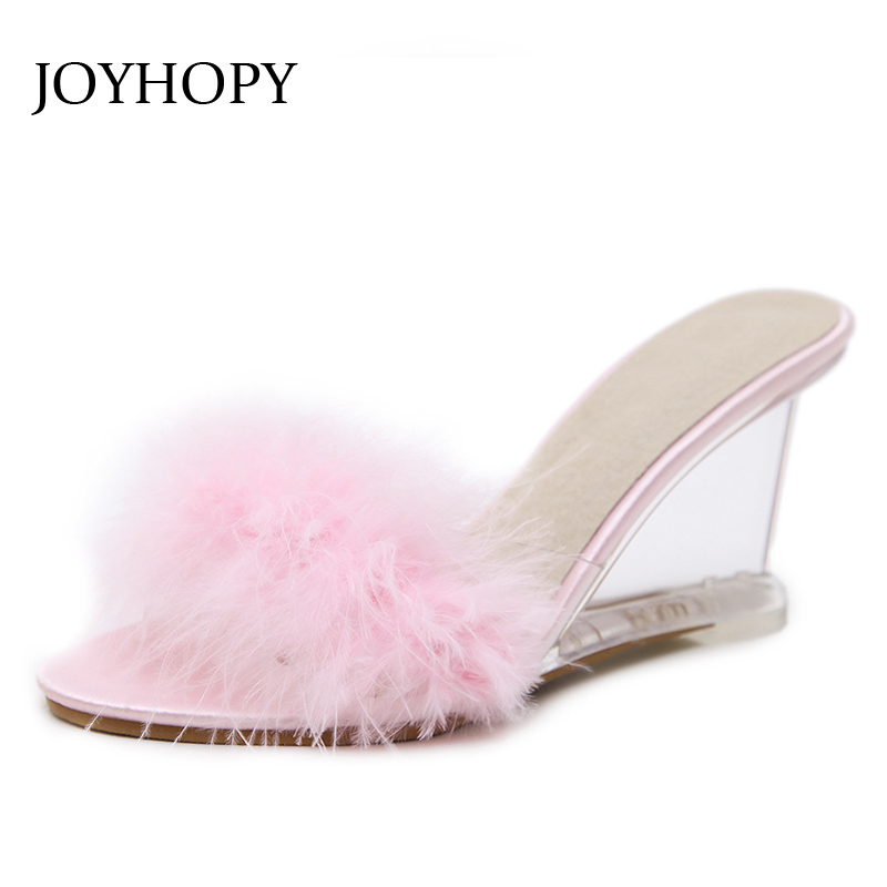 JOYHOPY Wedges Sandals Women Slippers Shoes Summer Transparent-Heel High-Heels Simple