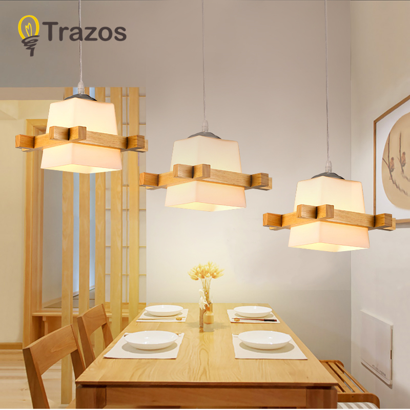TRAZOS Adjustable Pendant Lights For Dining Modern Wood Hanging Lamp with Grass Lampshades E27 LED Suspension Lighting Fixtures