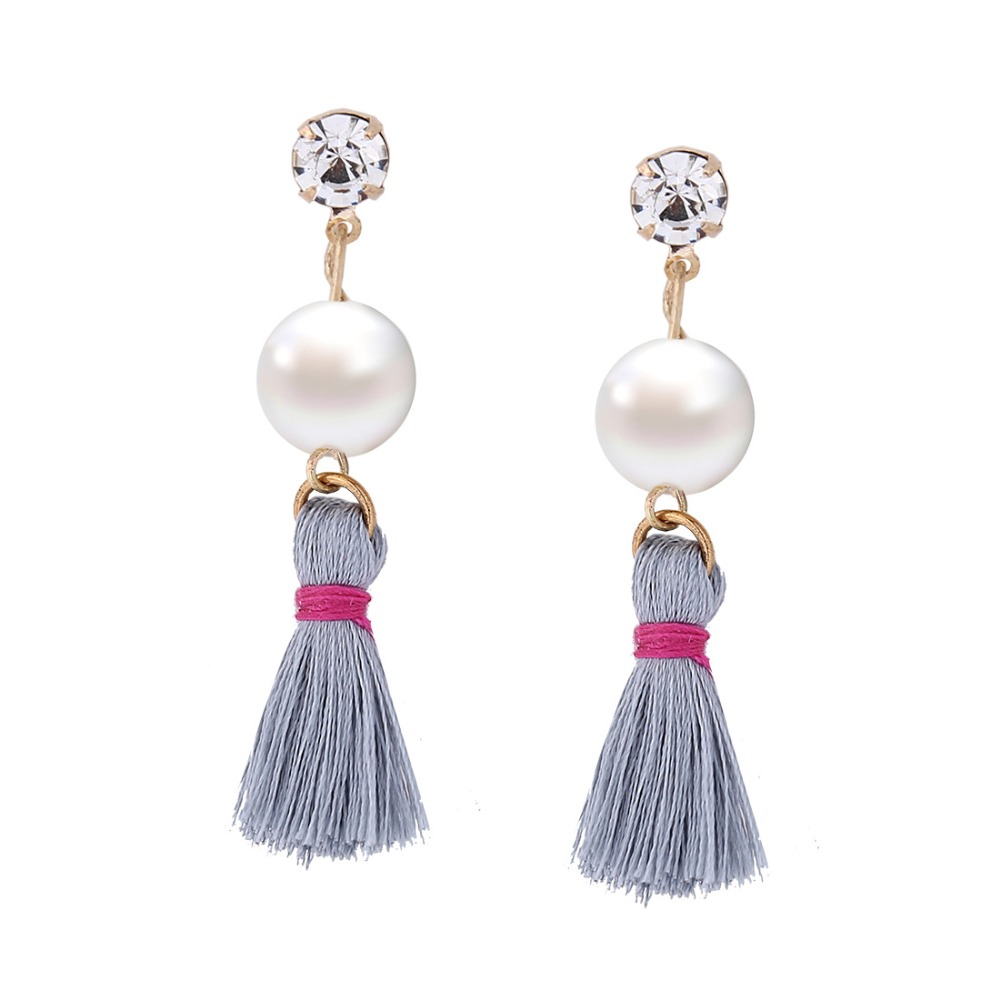 Bohemia Dangle Earring for Women Rhinestone Earring Pearl Tassel Drop Earring Hanging earrings costume jewelery Gift Wholesale