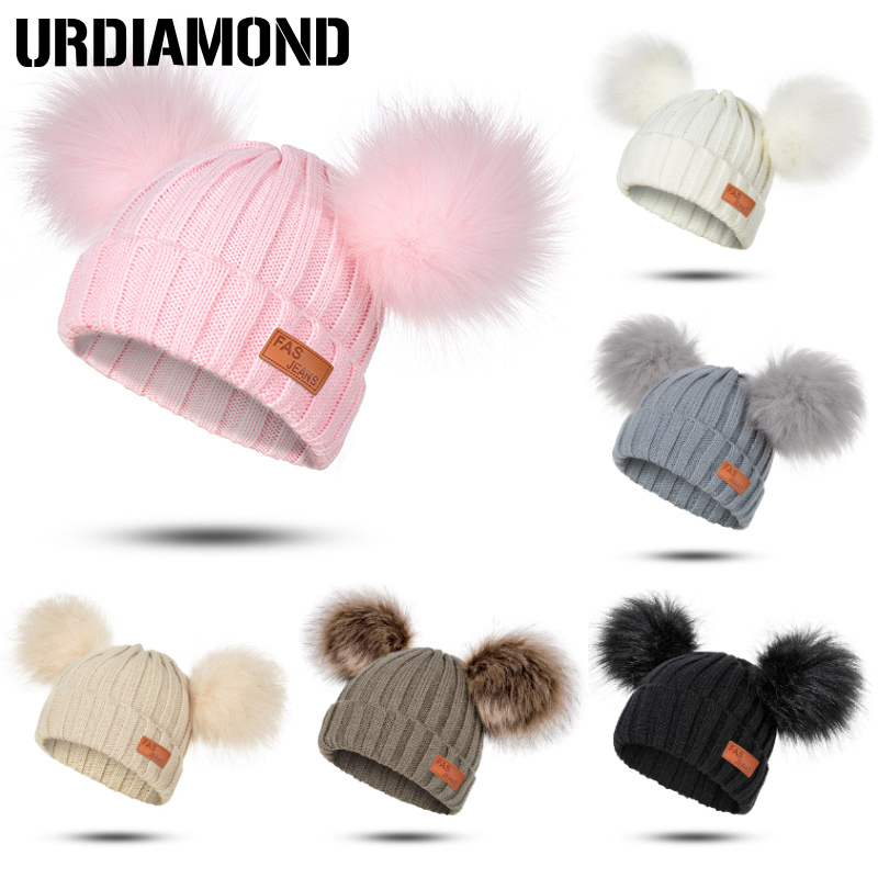 Winter Hats Pompoms Warm Autumn Girls Fashion Children's Boys Solid for Comfortable And