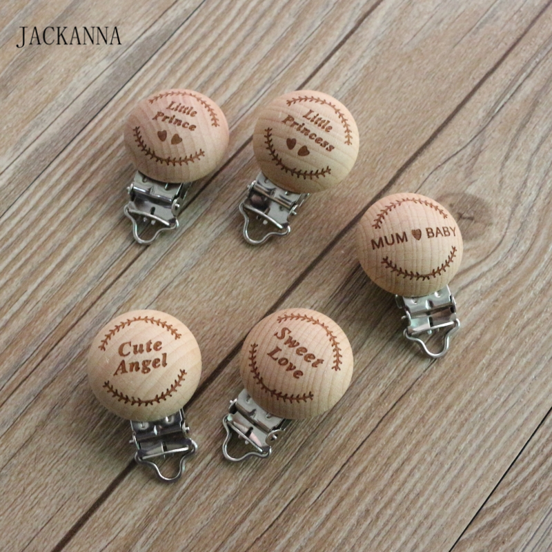 50PCS Beech Wood Baby Pacifier Clips Cartoon Wooden Baby Soother Holder Cute Dummy Clip Infant Eco