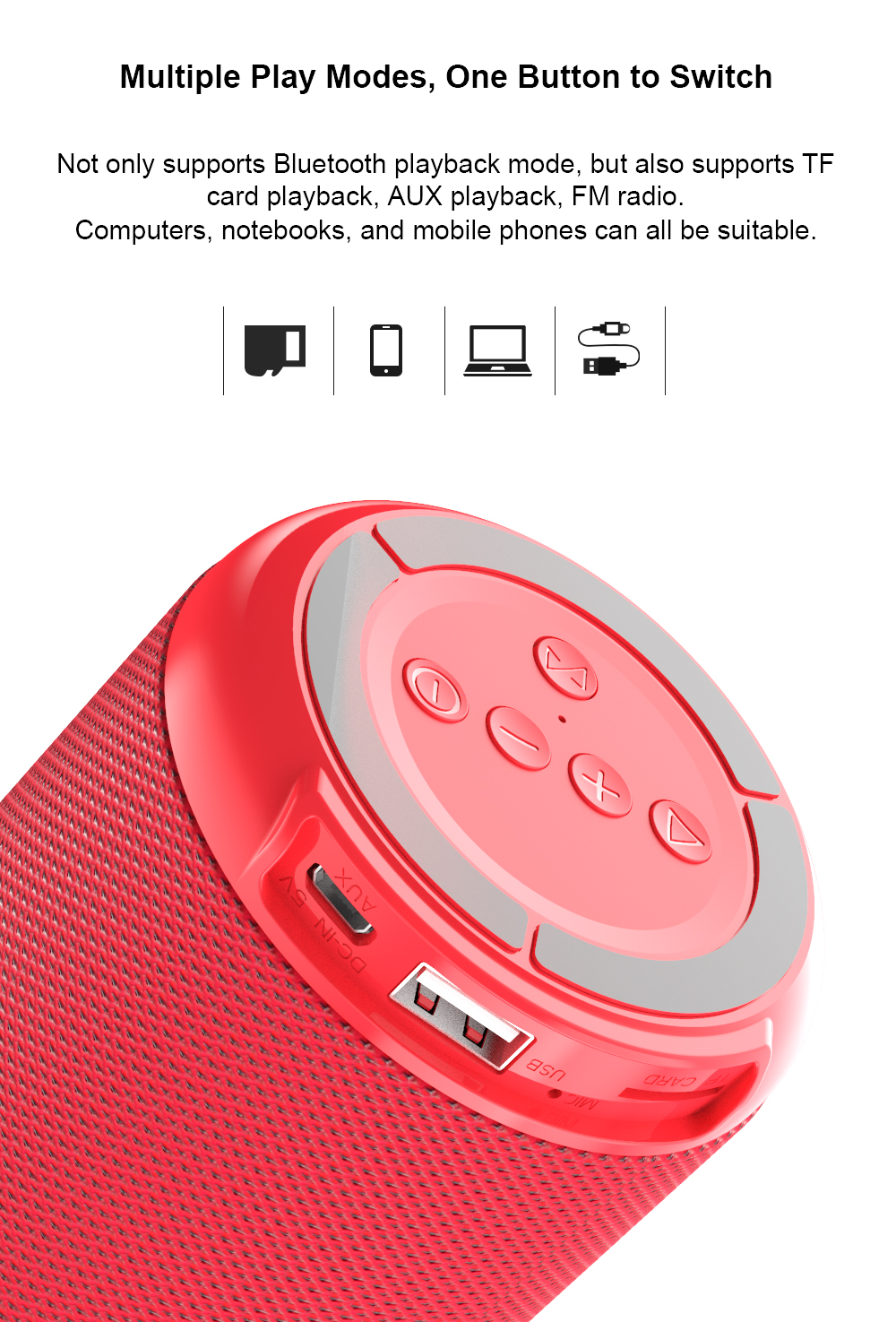 DACOM Q53 Mini Portable Bluetooth Speaker With Bass 3D Stereo Music Sub Woofer And TF Card Support 8