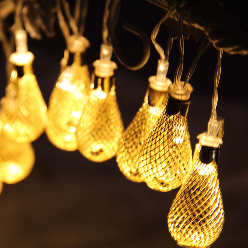 High Quality Warm White Water Drop Wedding Xmas Party Decor Outdoor Fairy String Light Lamp