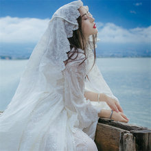 White Lace Sleeping Dress Embroidery Elegant Princess Long Nightdress Sweet Retro Woman Nightgowns QZ8926