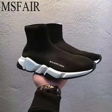 MSFAIR 35-45 2018 Szerelmesek Férfi Futócipő Női Fly vonal kötés Zoknik Sport cipők Férfi Női lélegző női cipők