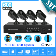 NVR CCTV 8 CH DVR home security camera system 4CMOS 600TVL Night Vision outdoor Surveillance system kit,iphone remote monitoring