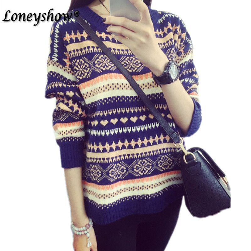 Christmas Sweater Women 2017 High Quality Runway Sweater With Argyle Embroidery Striped Sweater Pullovers