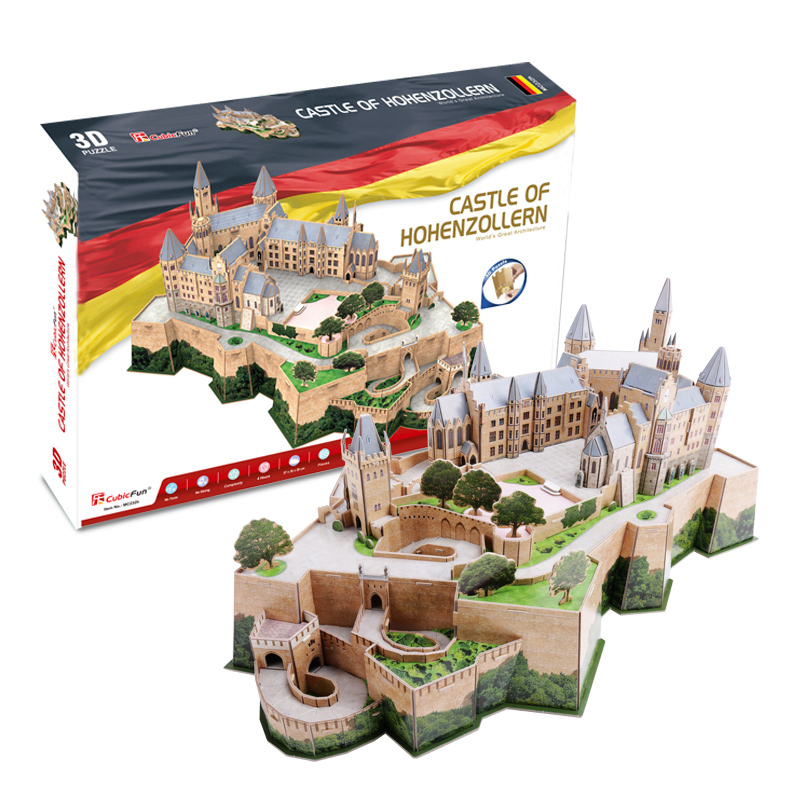 CubicFun 3D puzzle paper model Germany castle of hohenzollern building world's great architecture toy baby birthday gift 1set petronas towers cubicfun 3d educational puzzle paper