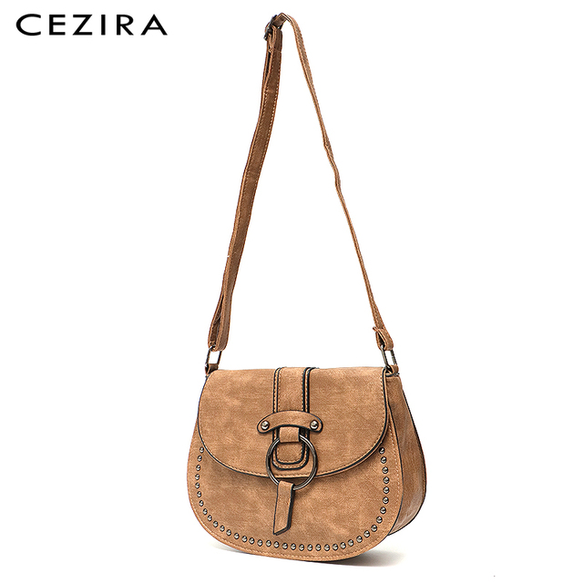 CEZIRA Vegan Leather Crossbody Bag For Women Casual Vintage Messenger Bag Girls Flap Saddle Bags Pu Leather Ladies Shoulder Bags