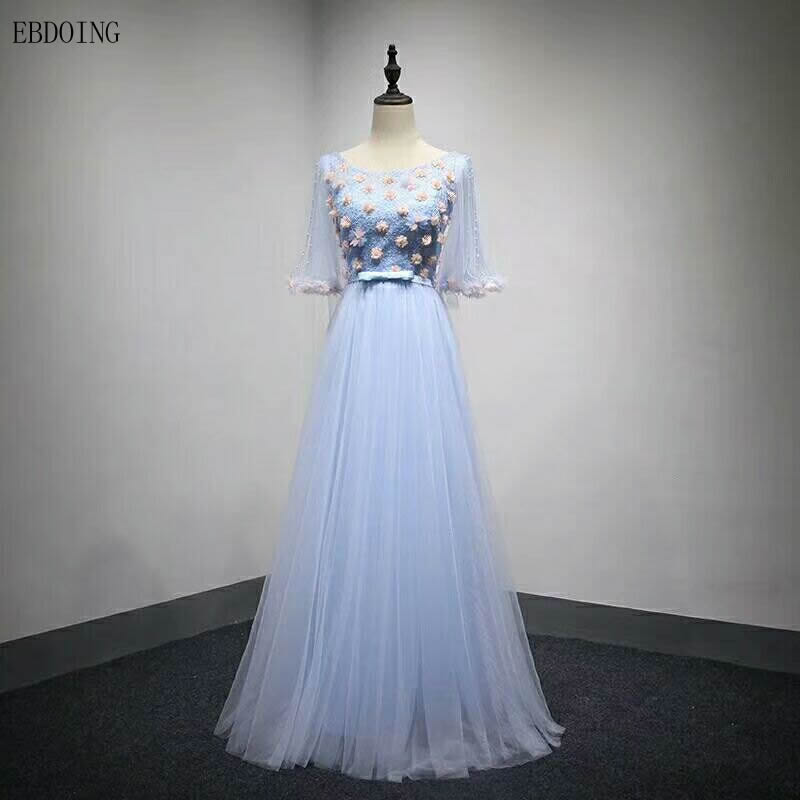 Robe de soiree Stunning Blue A-line Formal   Dress   Scoop Neckline Half Sleeve Vestidos de festa Lace Up Floor-length   Evening     Dress
